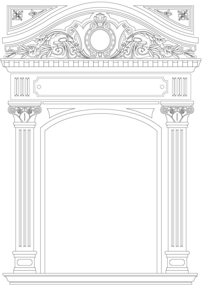 arco clásico ornamental en estilo de contorno vector