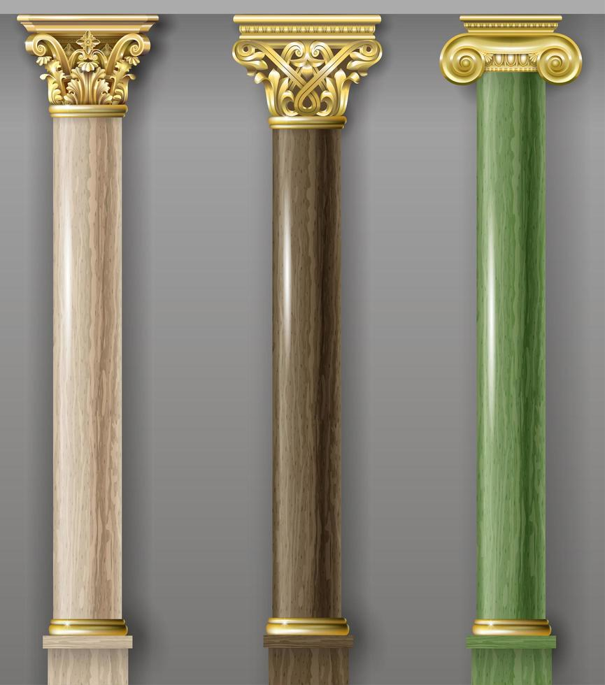 Set of classic brown and green columns vector