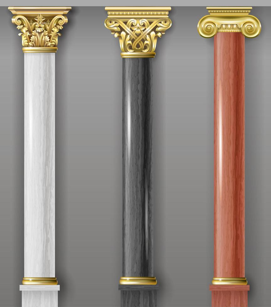 Set of classic white, black and red columns vector