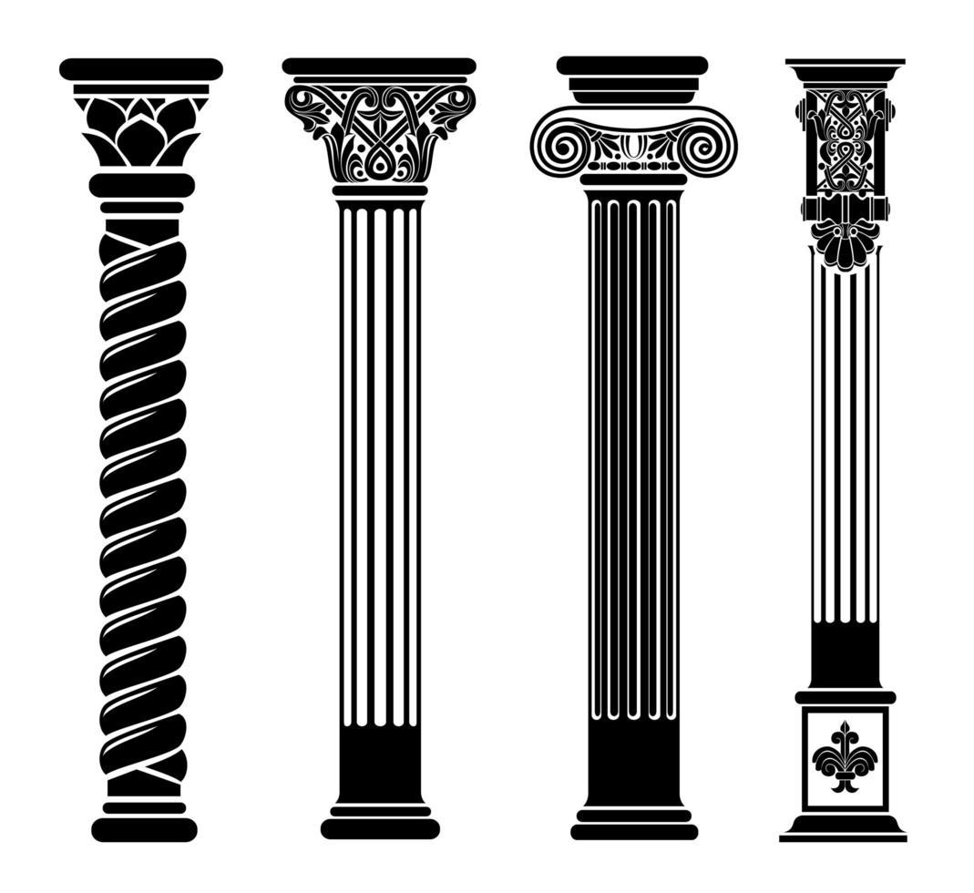contorno negro de columnas clásicas vector