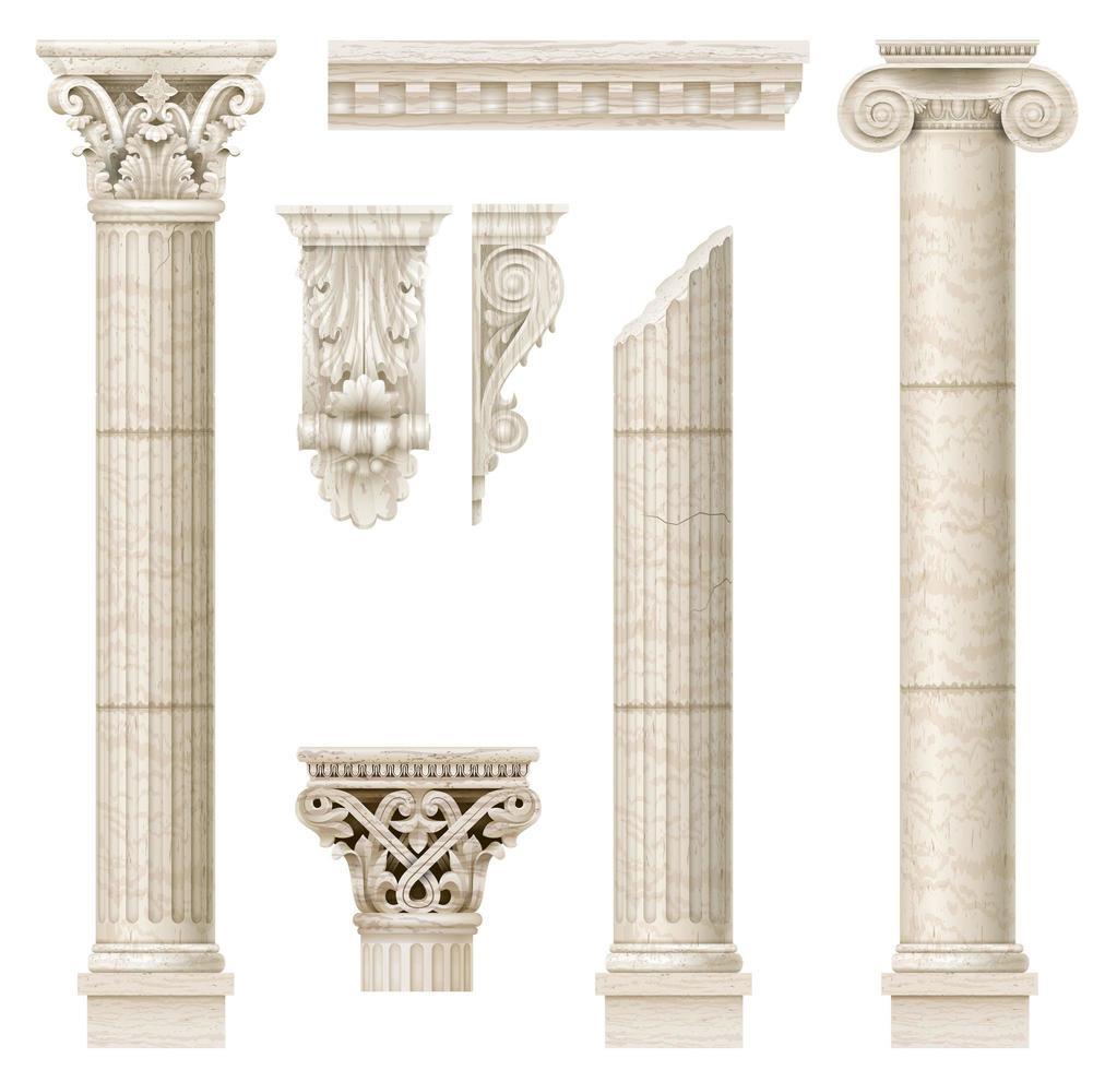 Classic antique marble columns vector