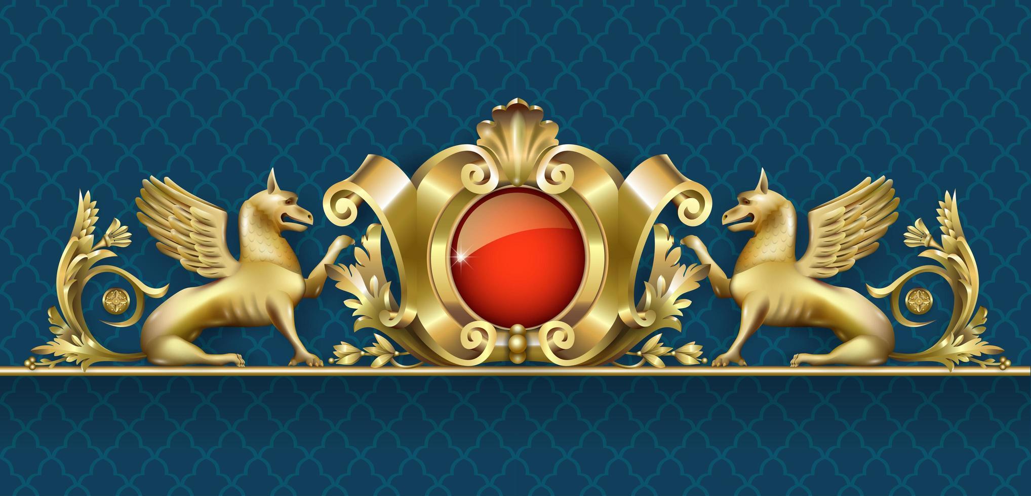 alto relieve dorado con grifo y joya roja vector