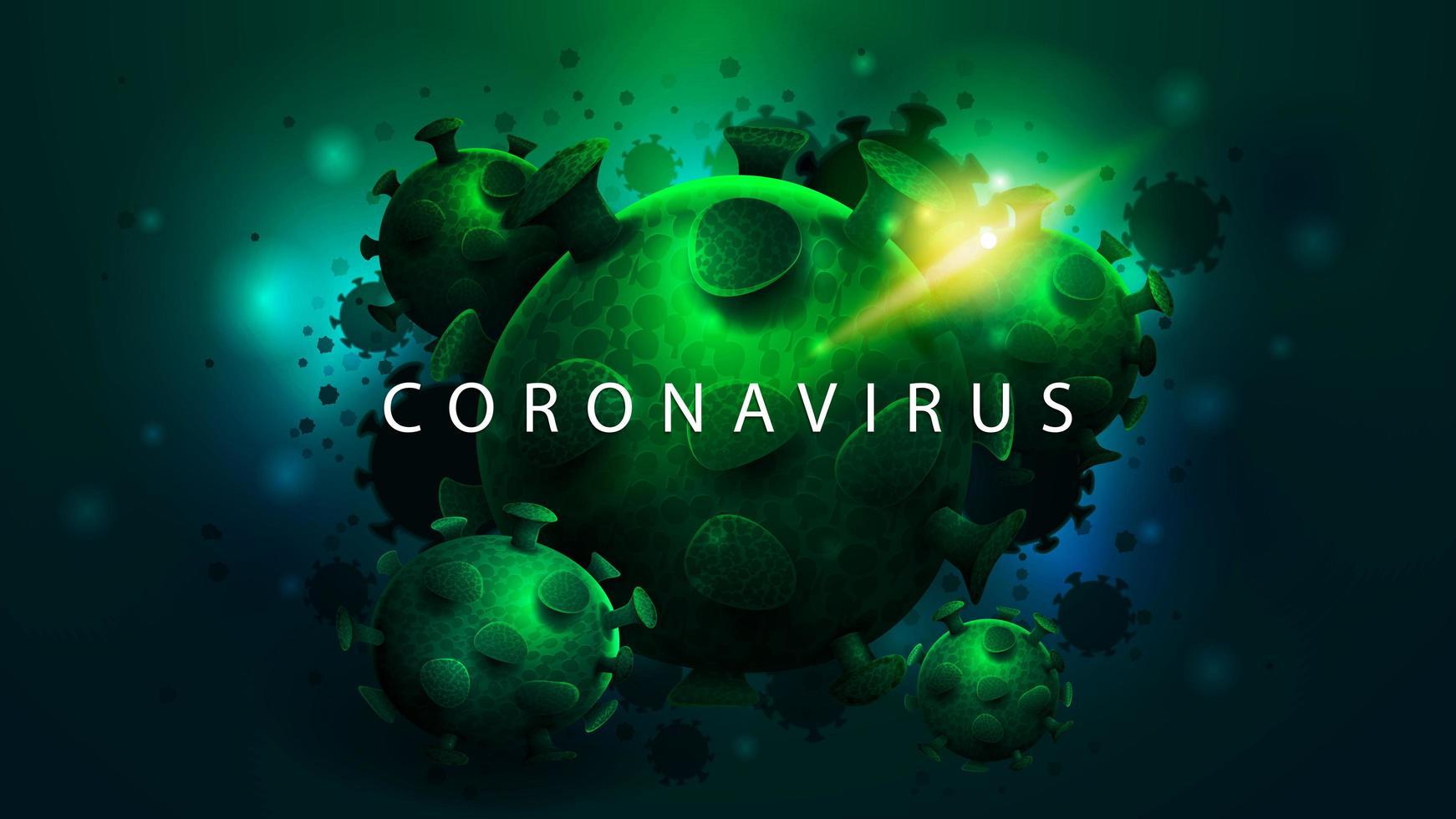 cartel oscuro con grandes moléculas de coronavirus verdes vector