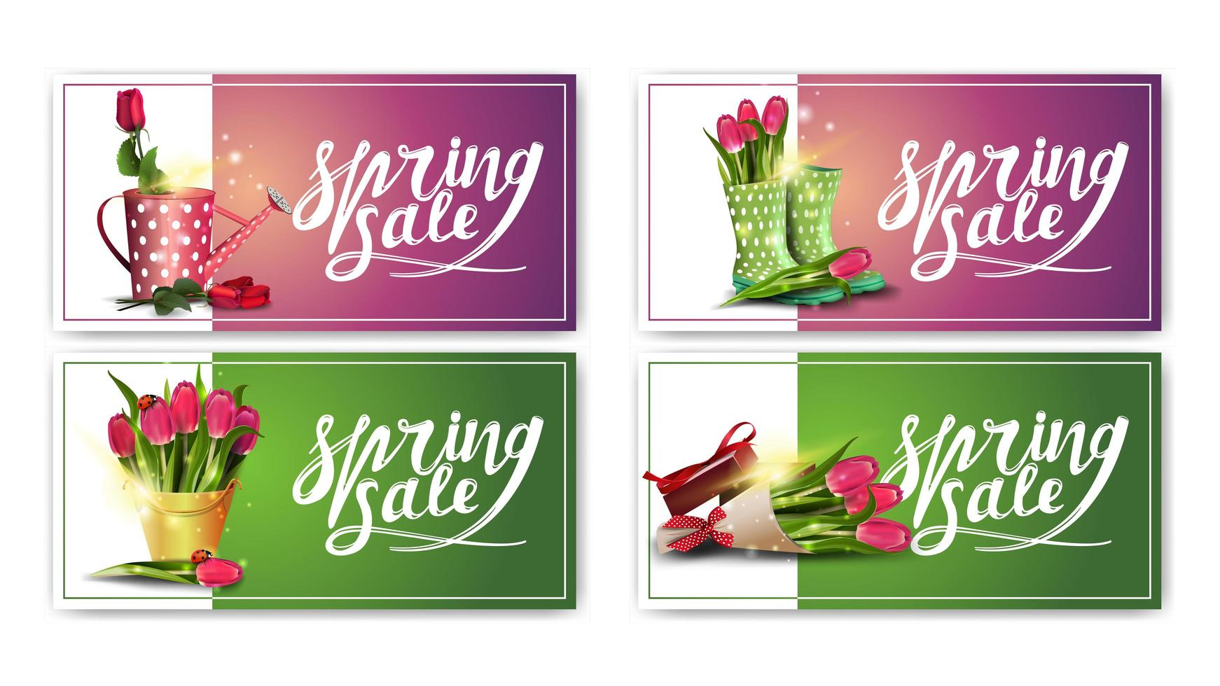 Spring sale purple and green horizontal banners vector
