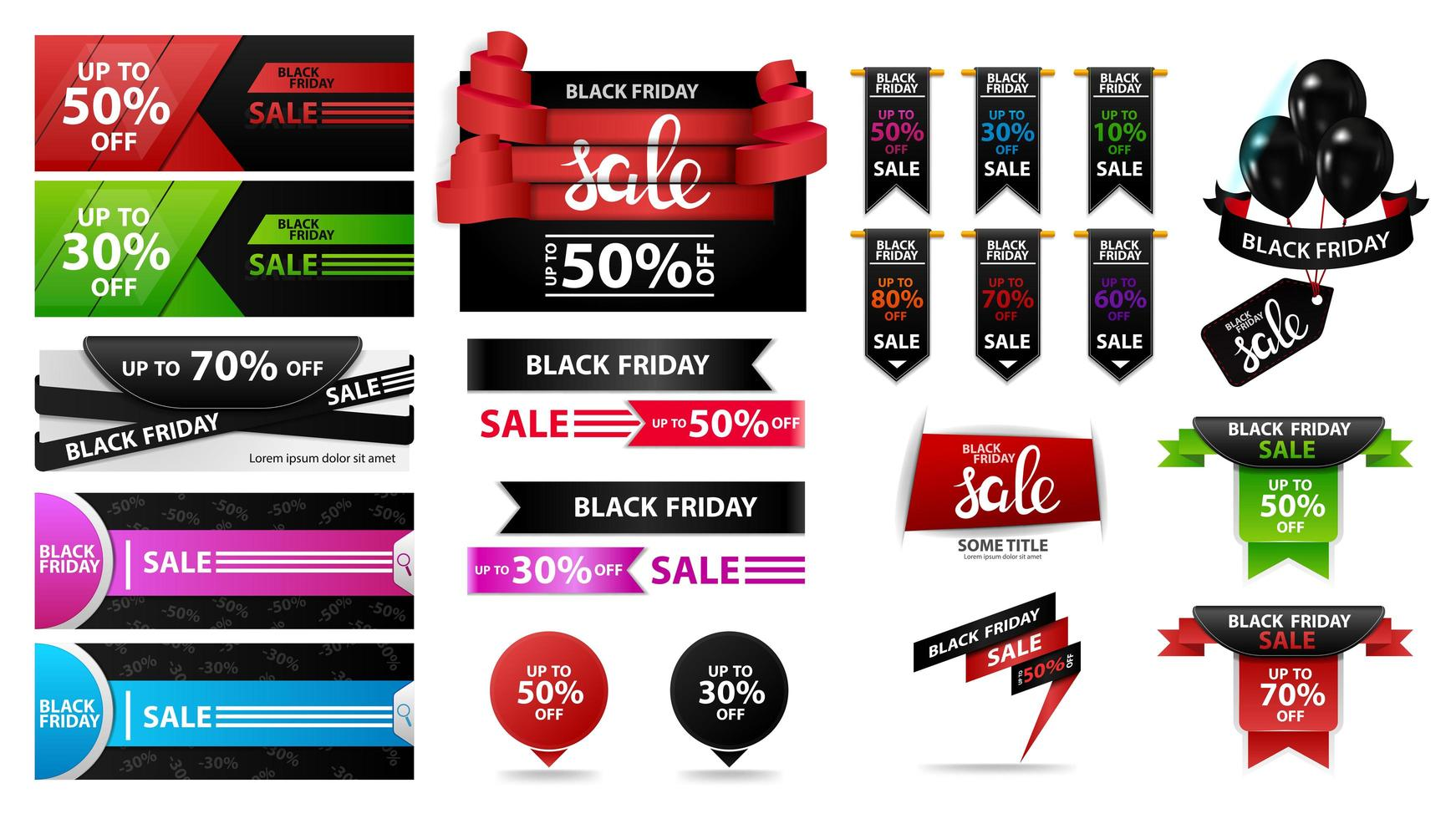 Large set of Black Friday discount sale banners vector