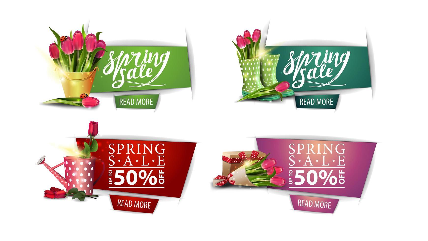 corte de papel banners de venta de primavera con flores y botones vector