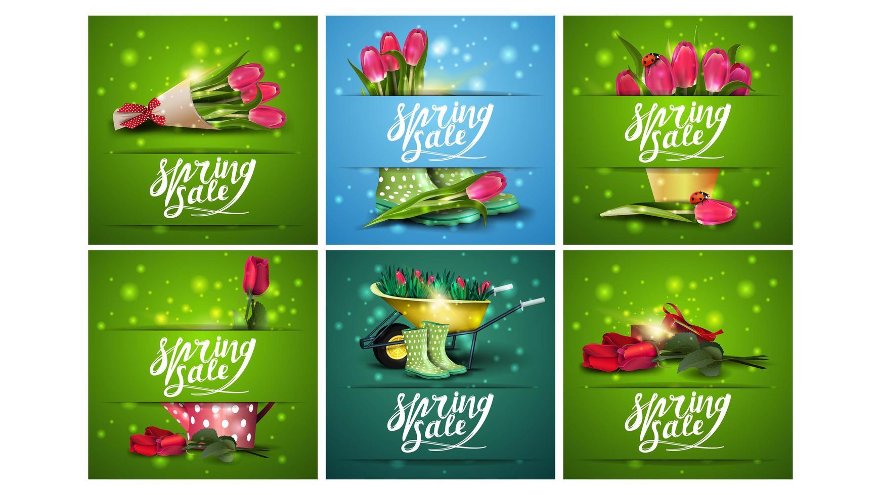 Banners cuadrados de venta de primavera con recortes de papel vector