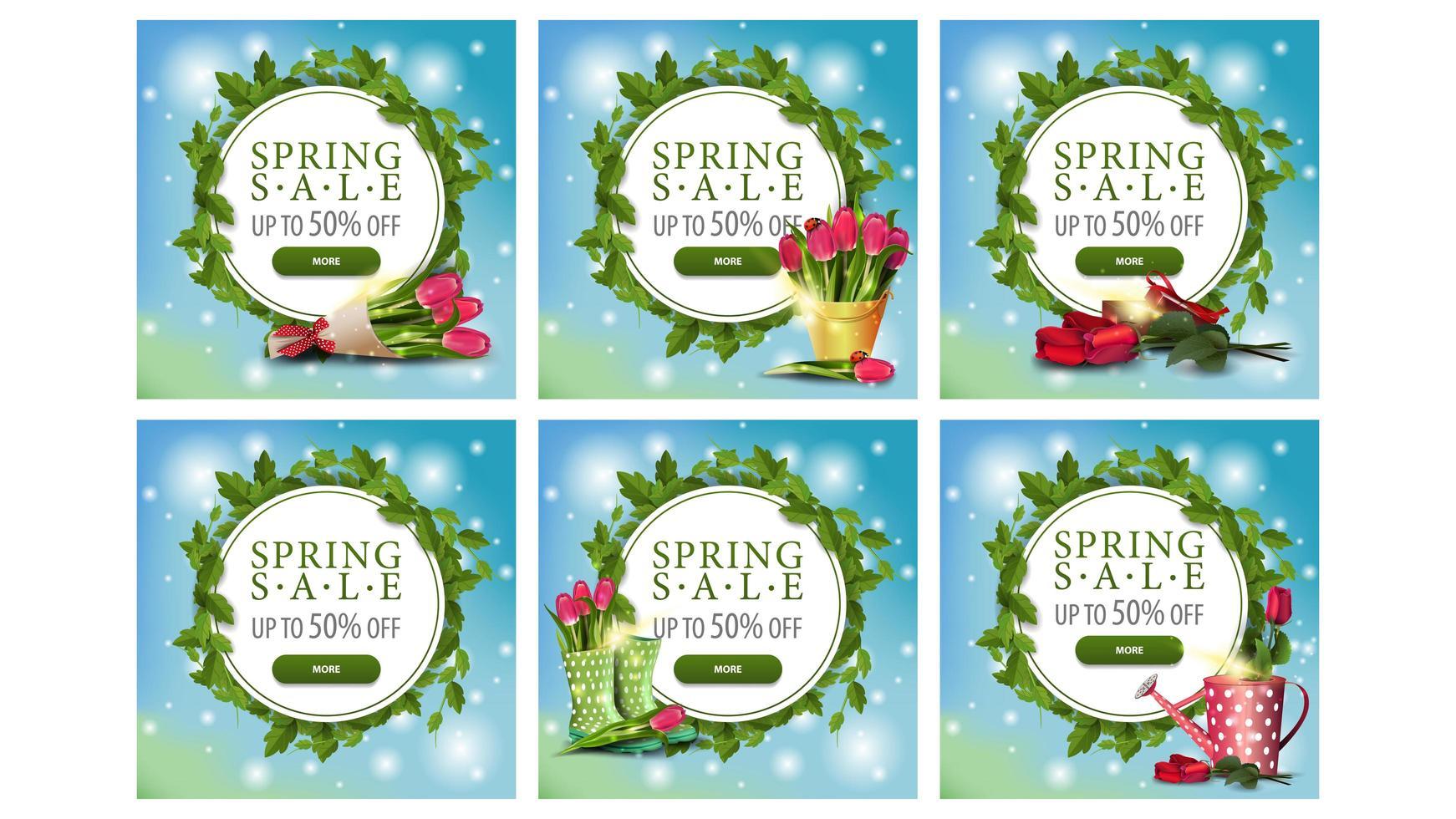 Banners de marco de círculo de venta de primavera con hojas vector