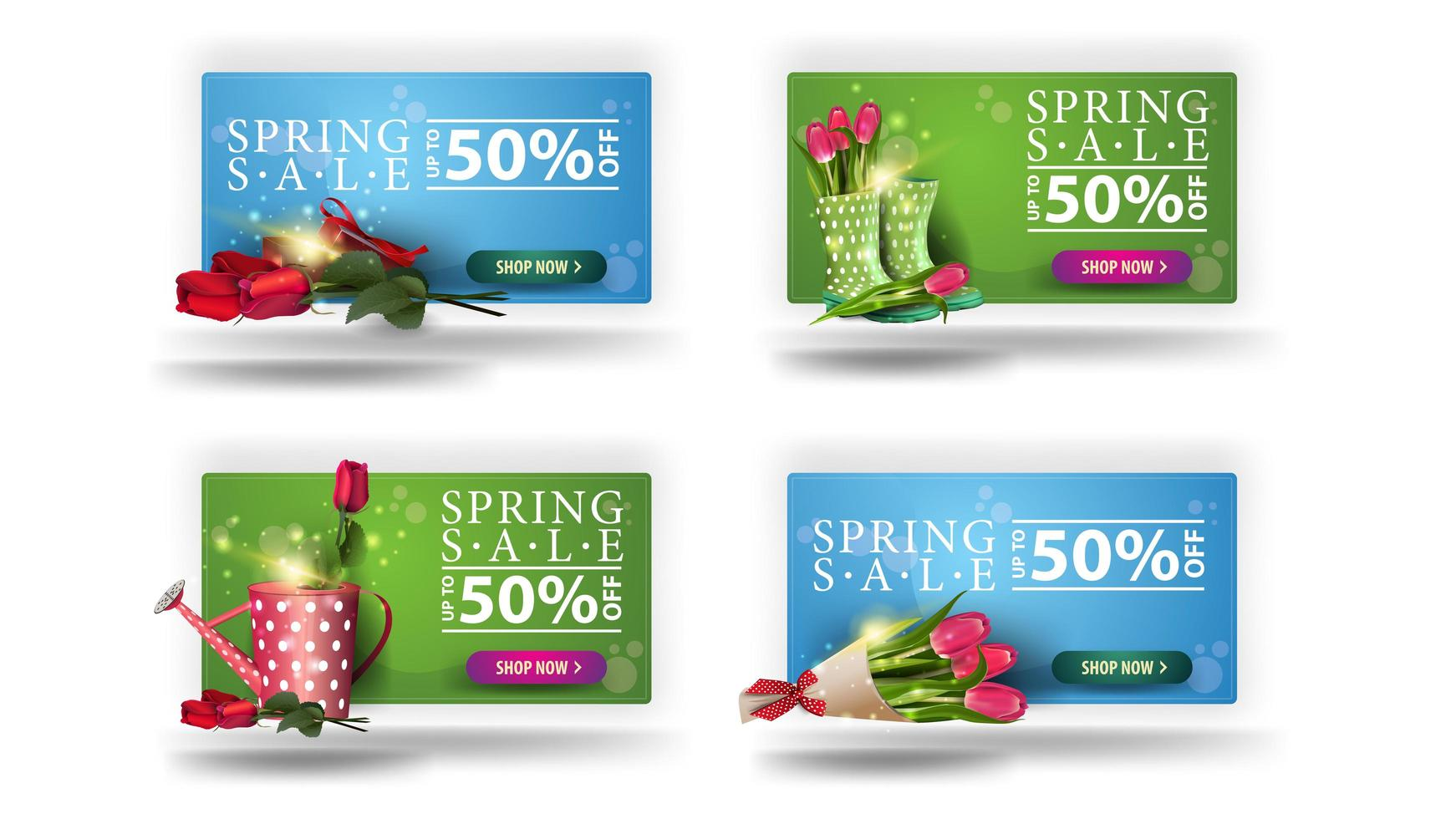 Spring sale banners with rounded edges and buttons vector