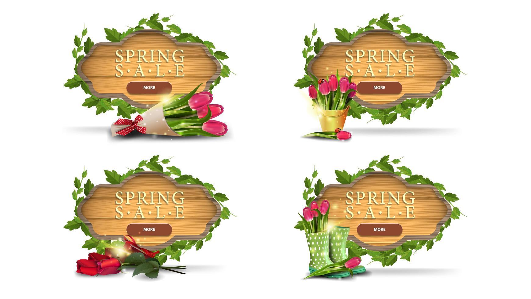 Banners de marco de madera de venta de primavera con hojas vector