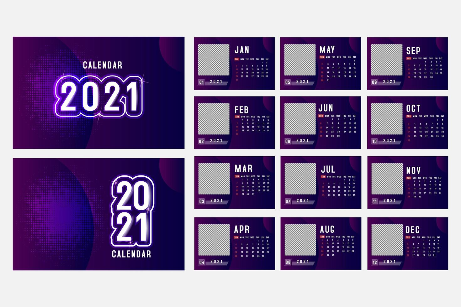 Purple horizontal 2021 calendar with square image space vector