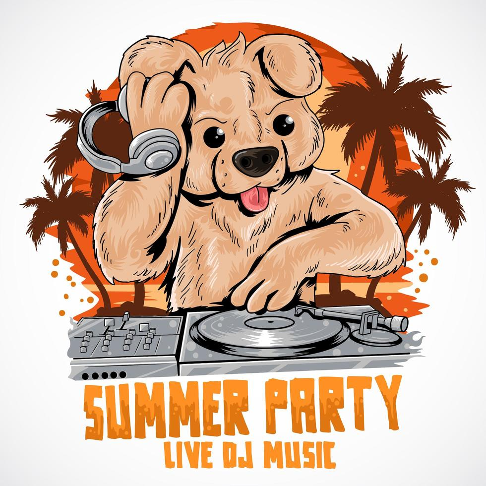 Summer teddy bear DJ music party poster  vector
