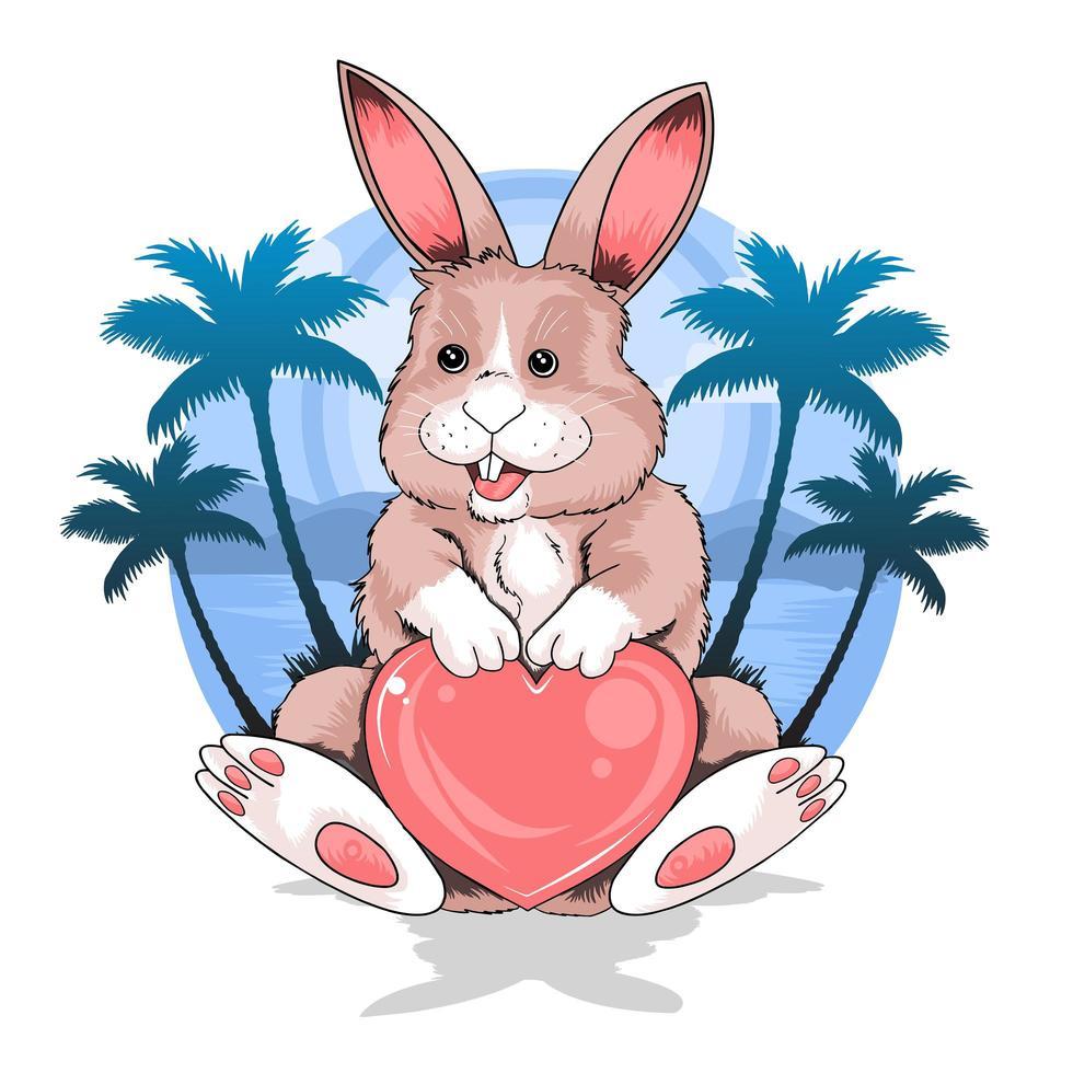 conejo de verano con diseño de amor vector