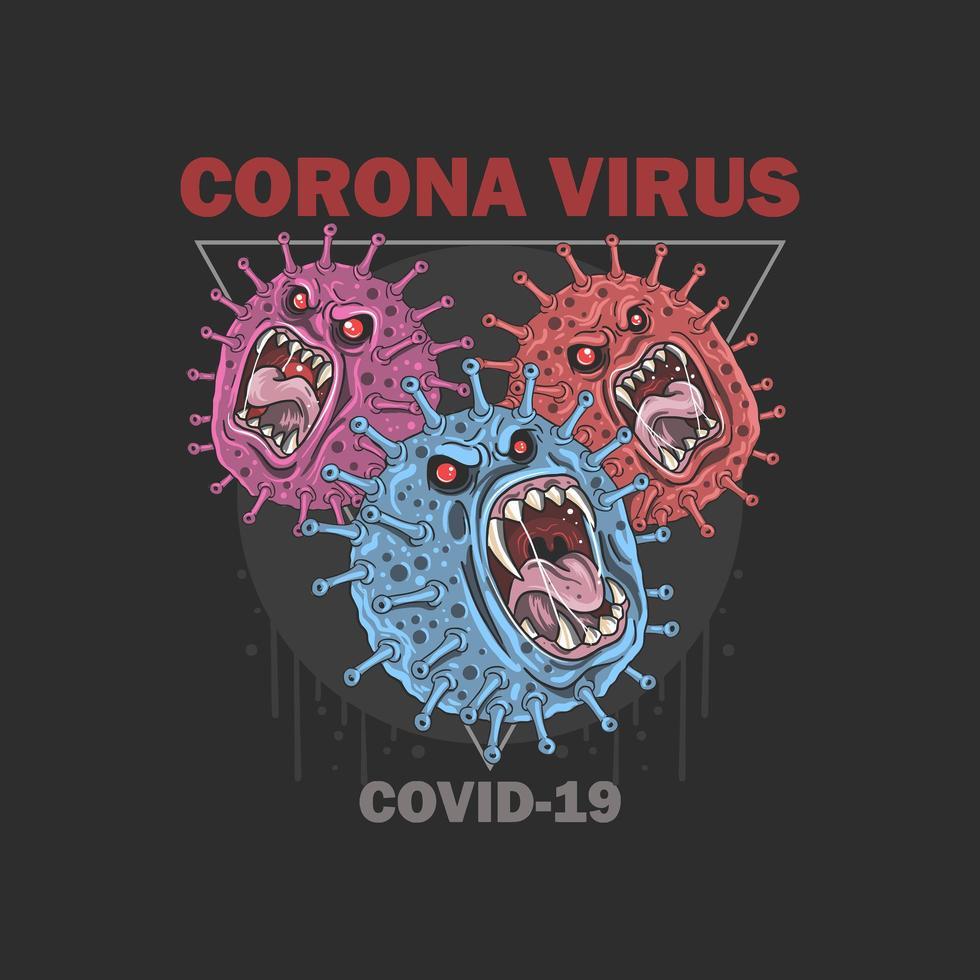 diseño de cartel de germen de monstruo coronavirus covid-19 vector