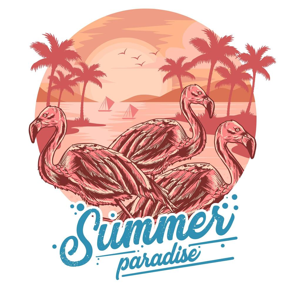 Summer flamingo paradise poster  vector