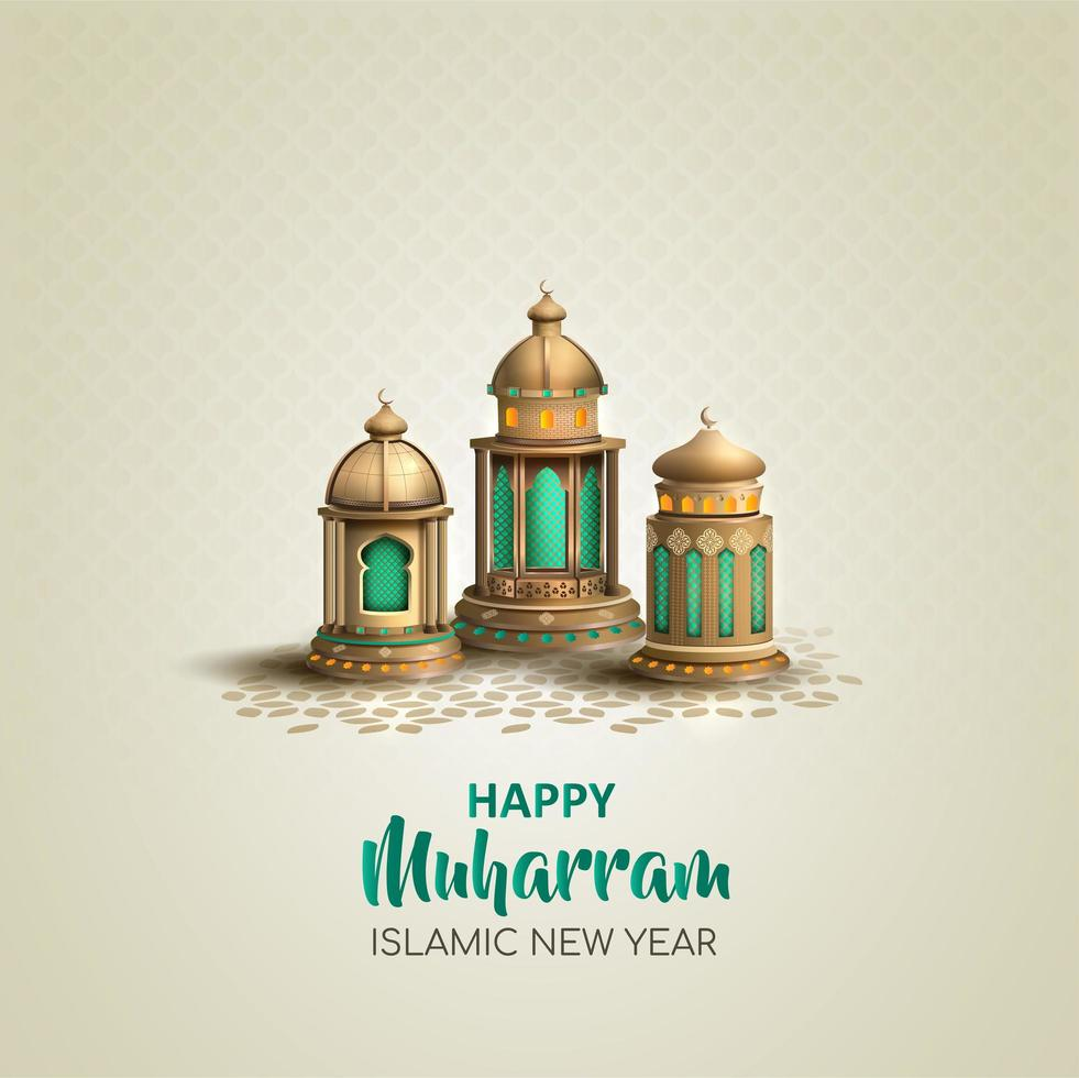 Happy Muharram Islamic New Year Lantern Design  vector