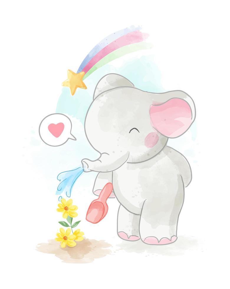 elefante de dibujos animados riego flor amarilla vector