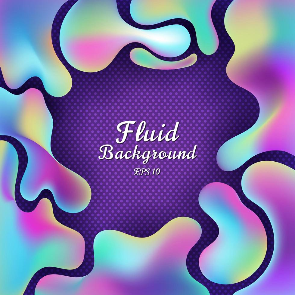 Abstract 3D Fluid Gradient Colorful Shapes on Purple Background vector