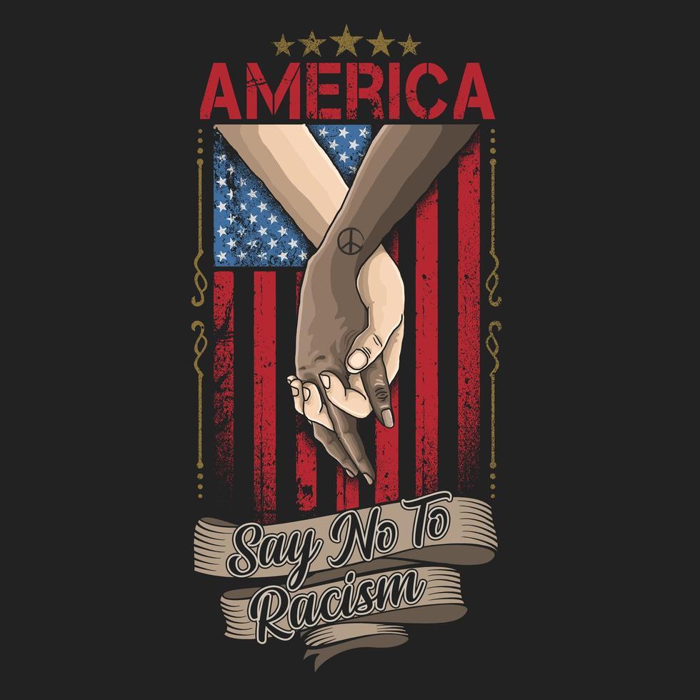 manos multirraciales cruzadas sobre la bandera americana vector