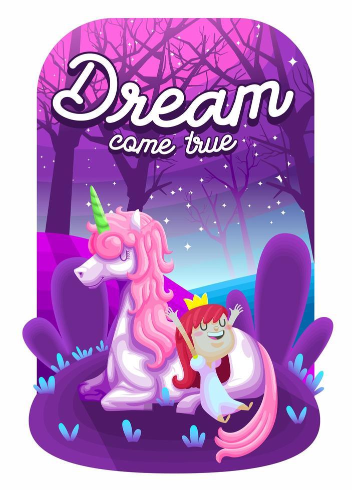 hermoso unicornio con linda princesa vector