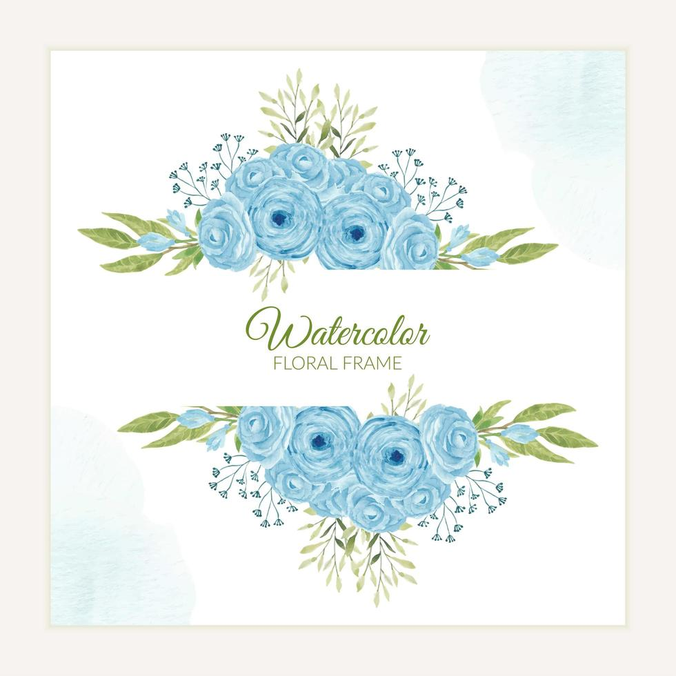 Hand painted blue rose flower frame in watercolor style vector