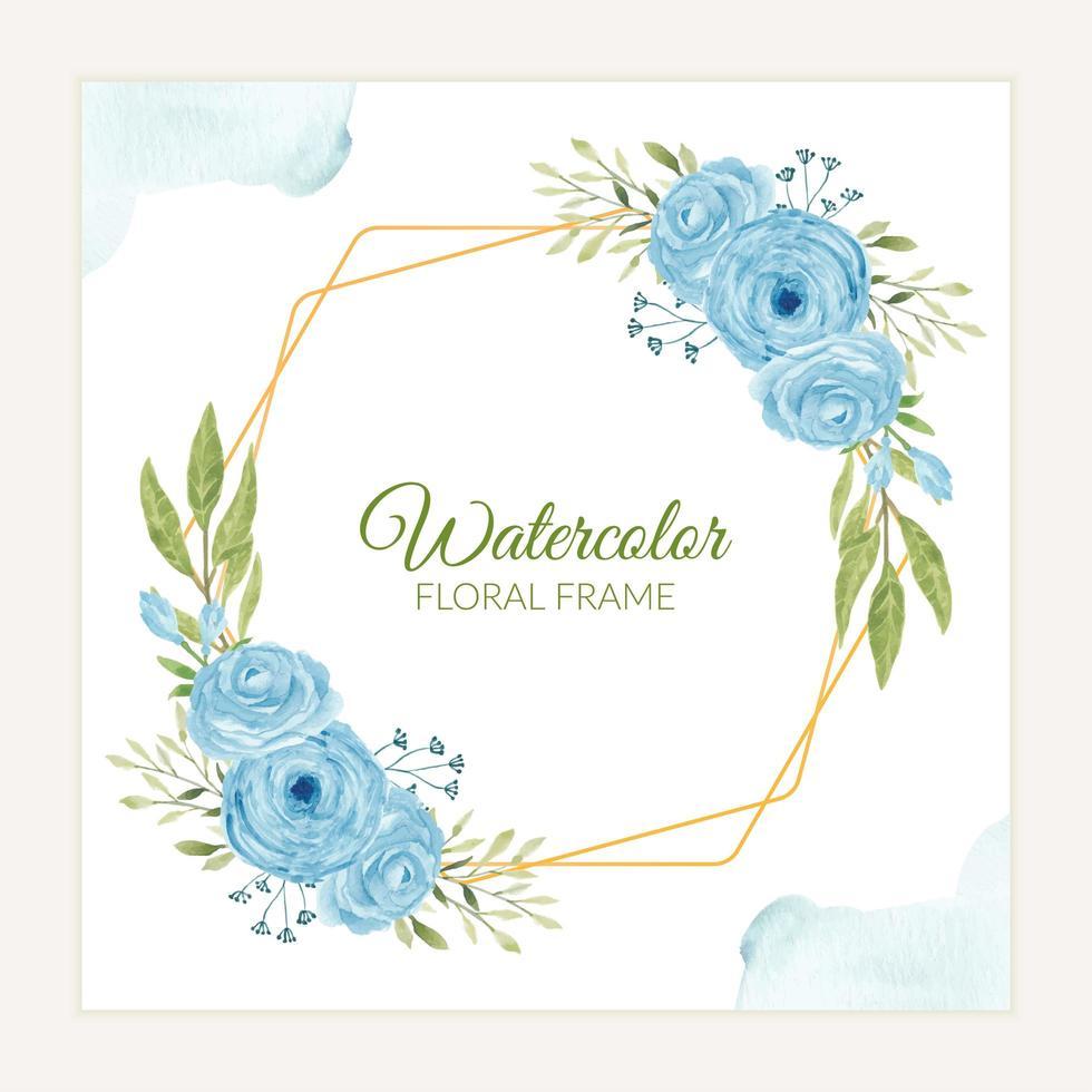Marco de flor rosa azul acuarela rústica vector