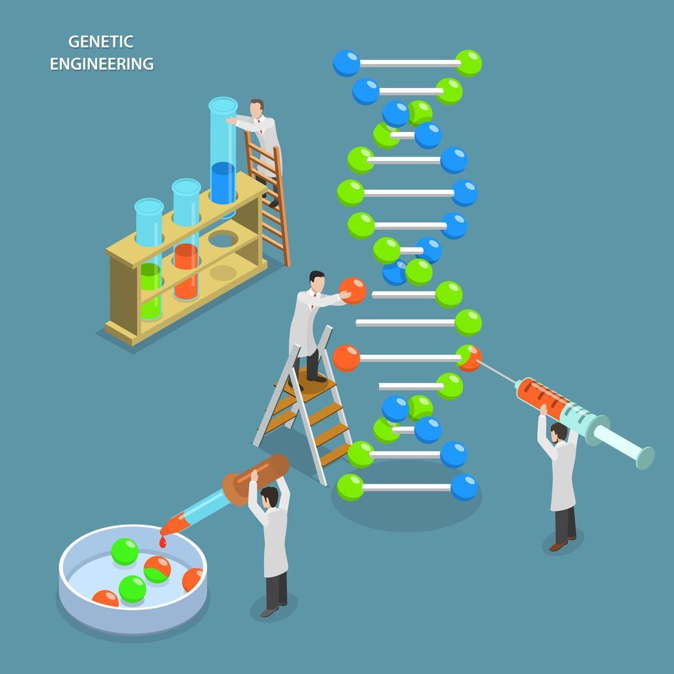 Genetic engineering isometric design vector