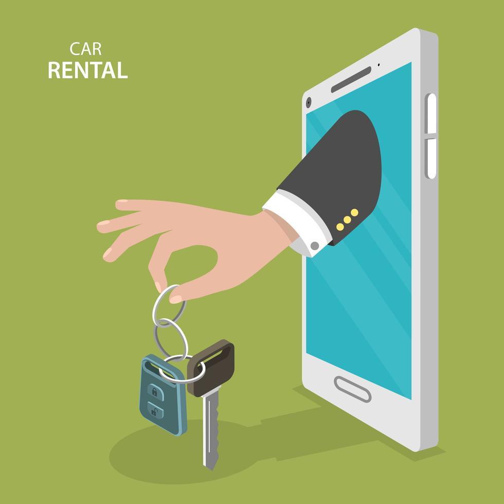 Hand with car rental keys through mobile phone vector