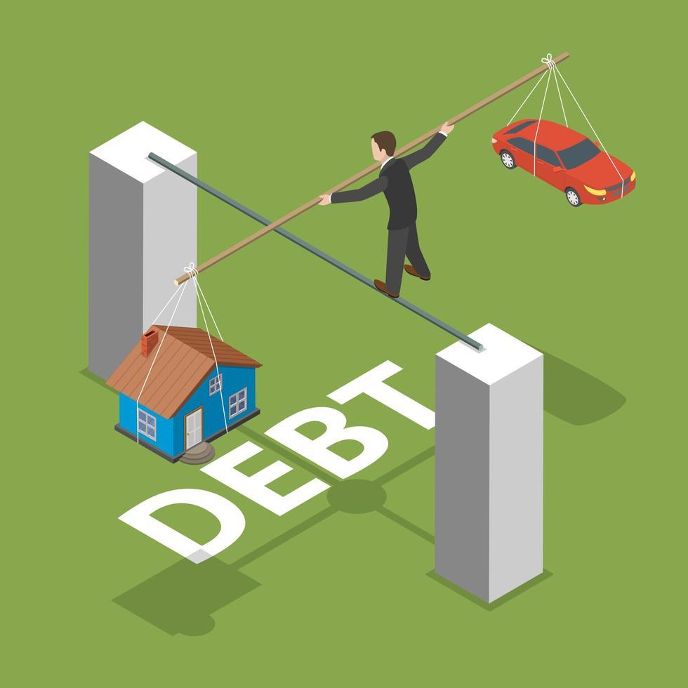 Hombre caminando sobre poste equilibrio de deuda diseño isométrico vector