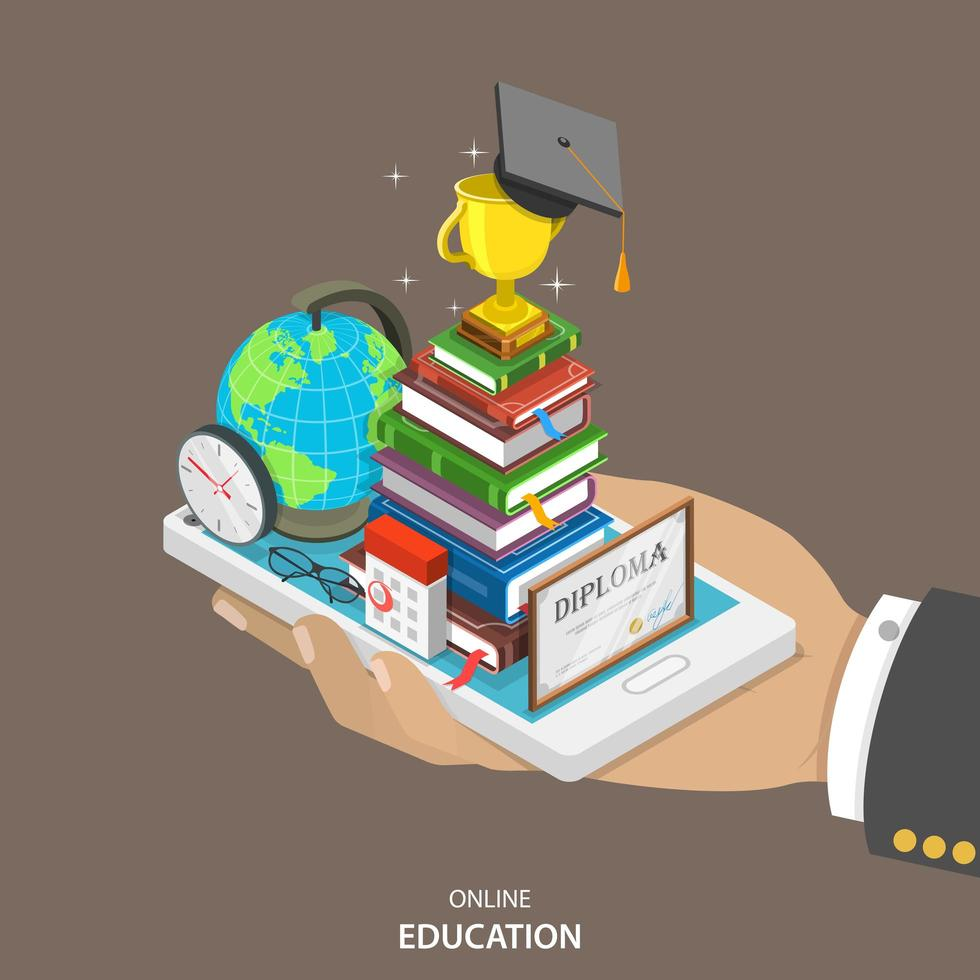 Online education isometric concept vector