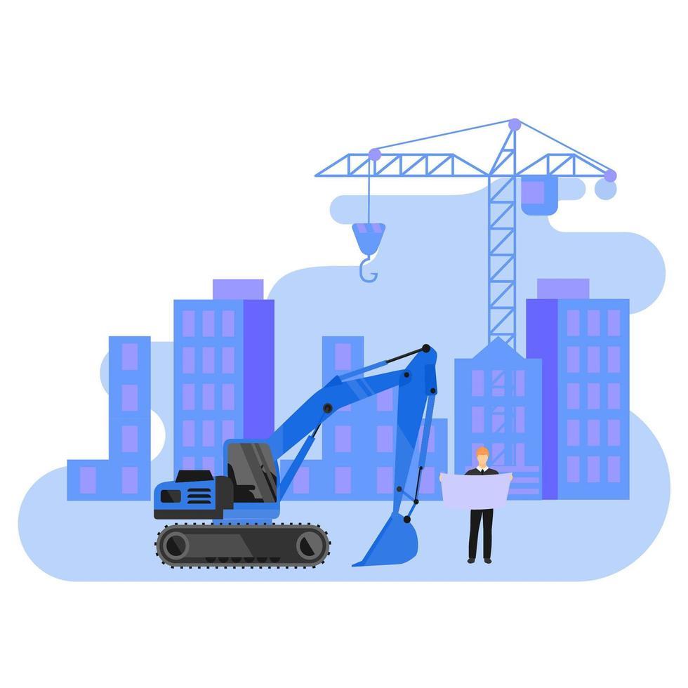 hombre con plano en el sitio de construcción vector