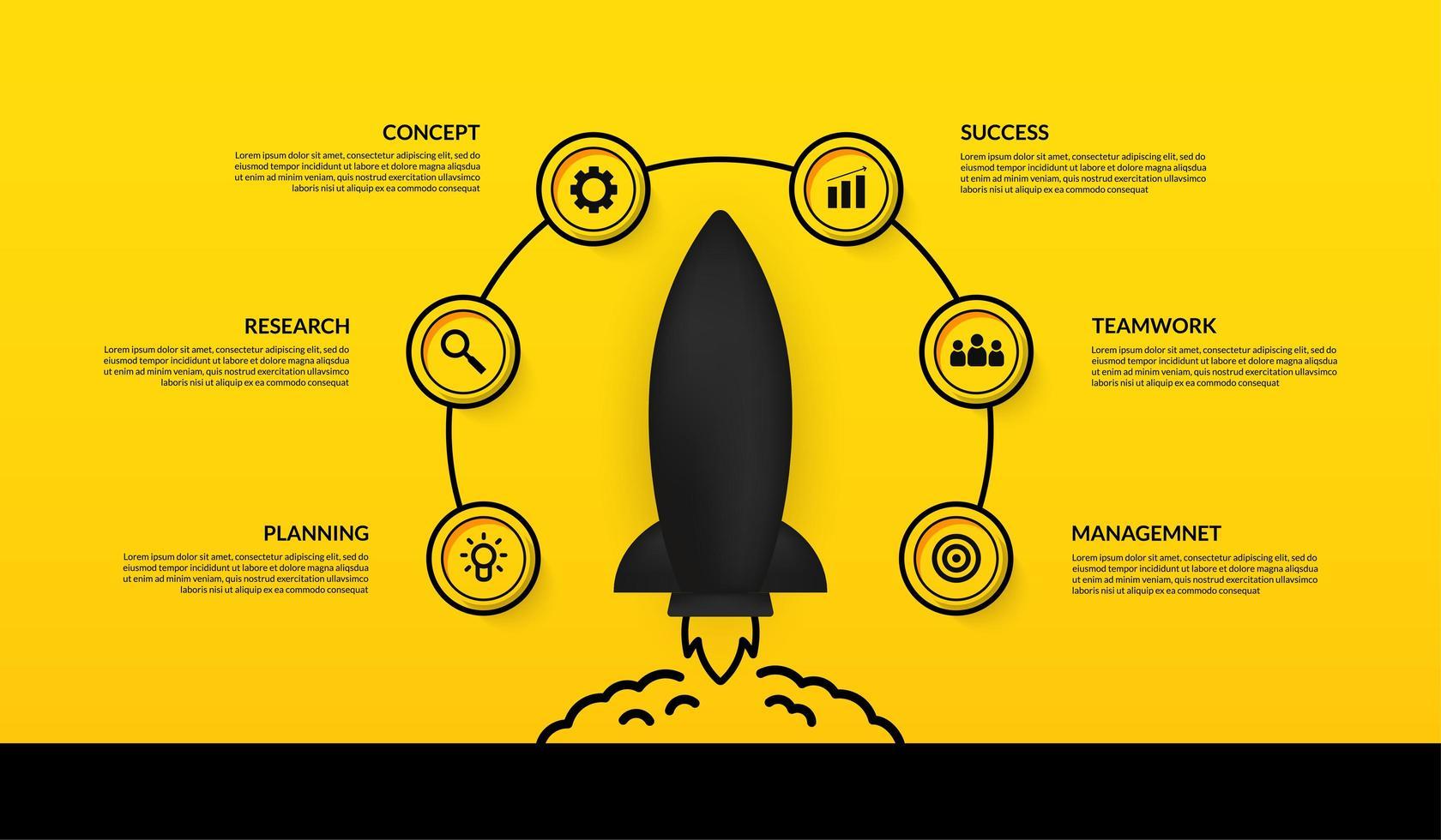 infografía con nave espacial de lanzamiento rodeada de iconos vector