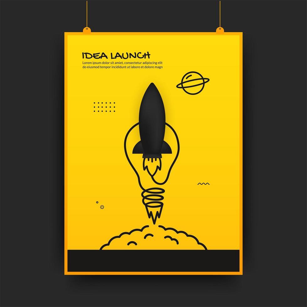 cartel con lanzamiento de cohete conectado y bombilla vector