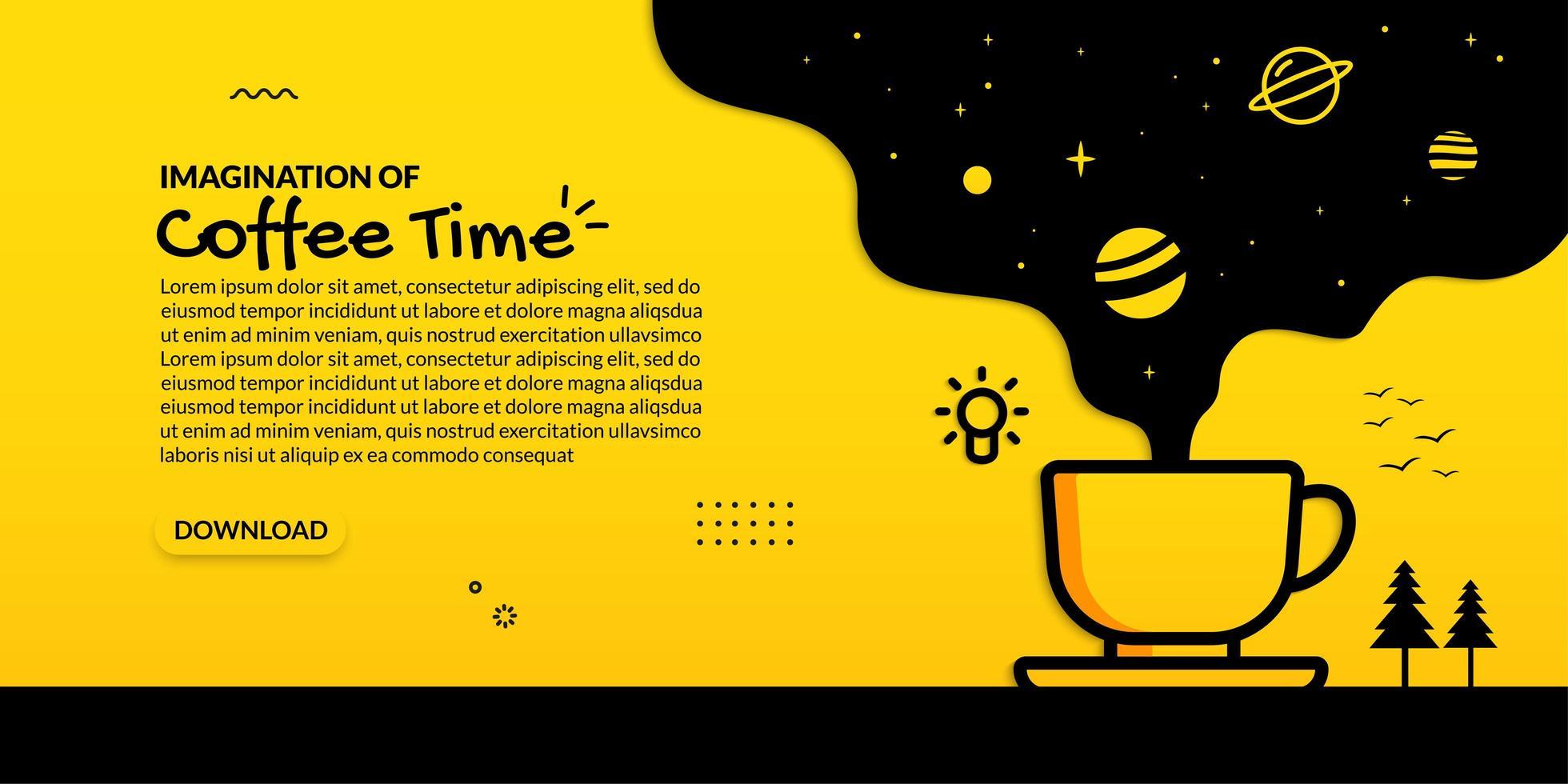 scnee espacial que fluye de la taza de café vector
