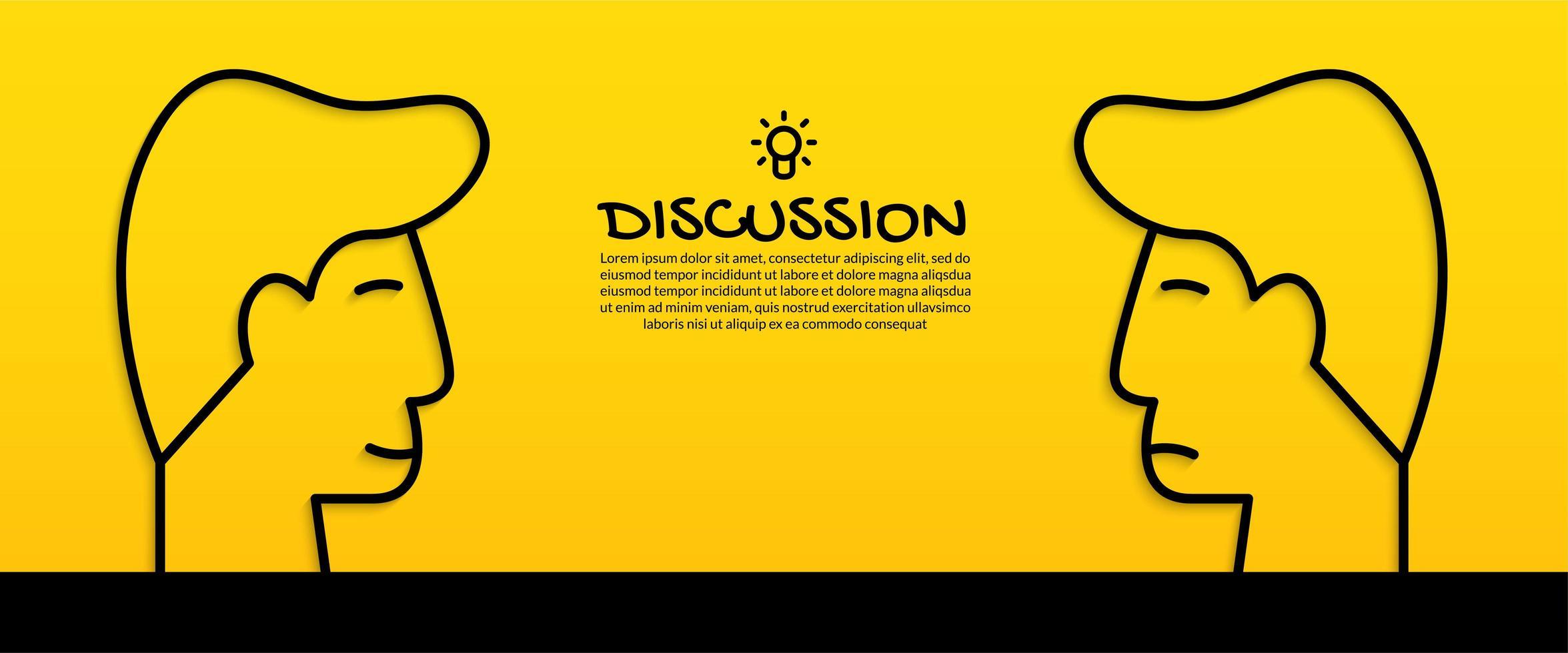 discutiendo el concepto de idea con dos cabezas humanas vector