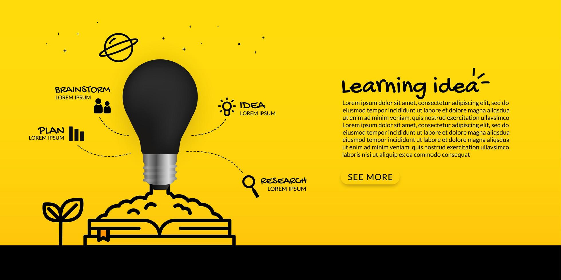 Light bulb launching from book learning concept vector