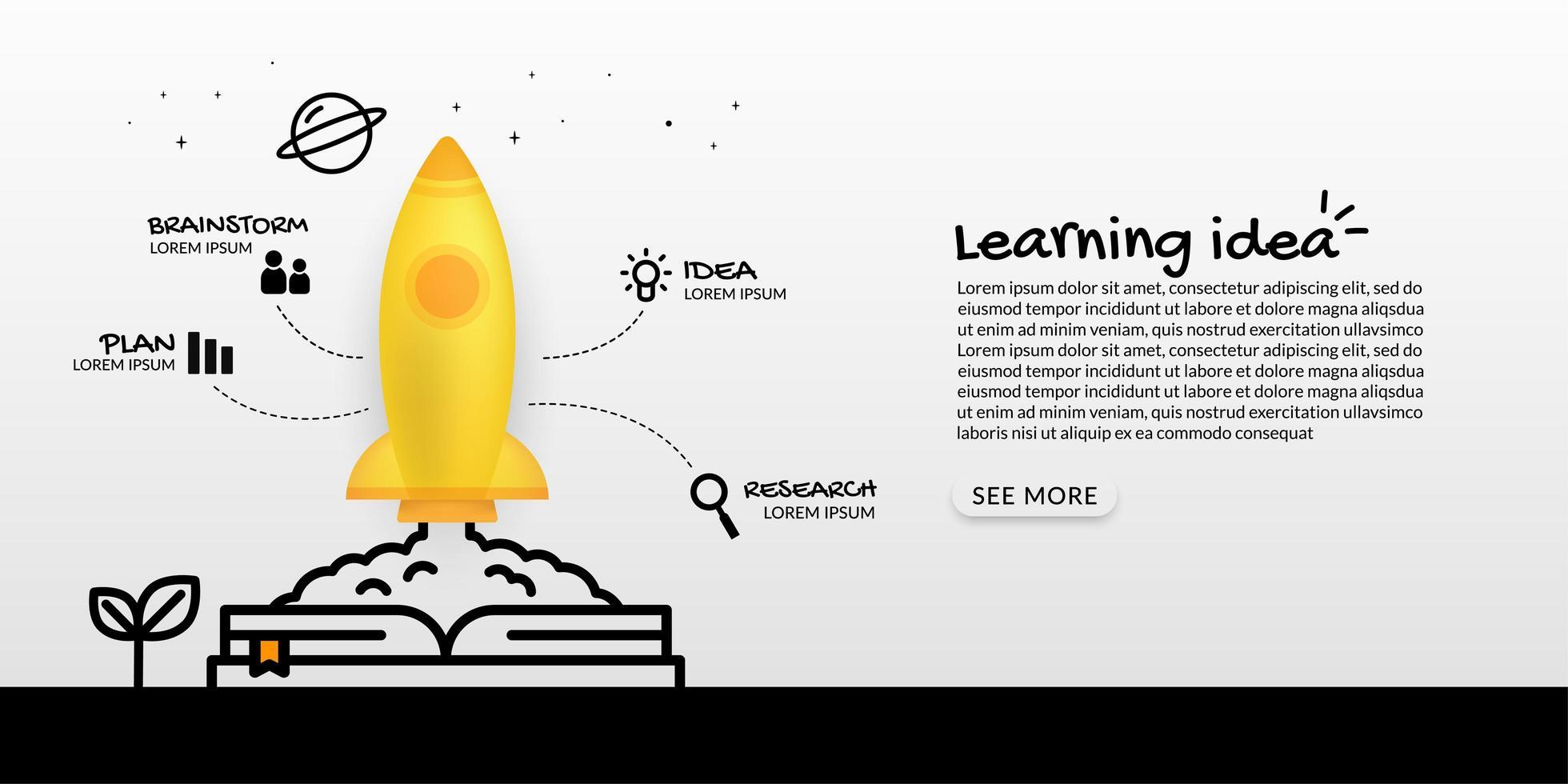 nave espacial lanzando desde el libro vector