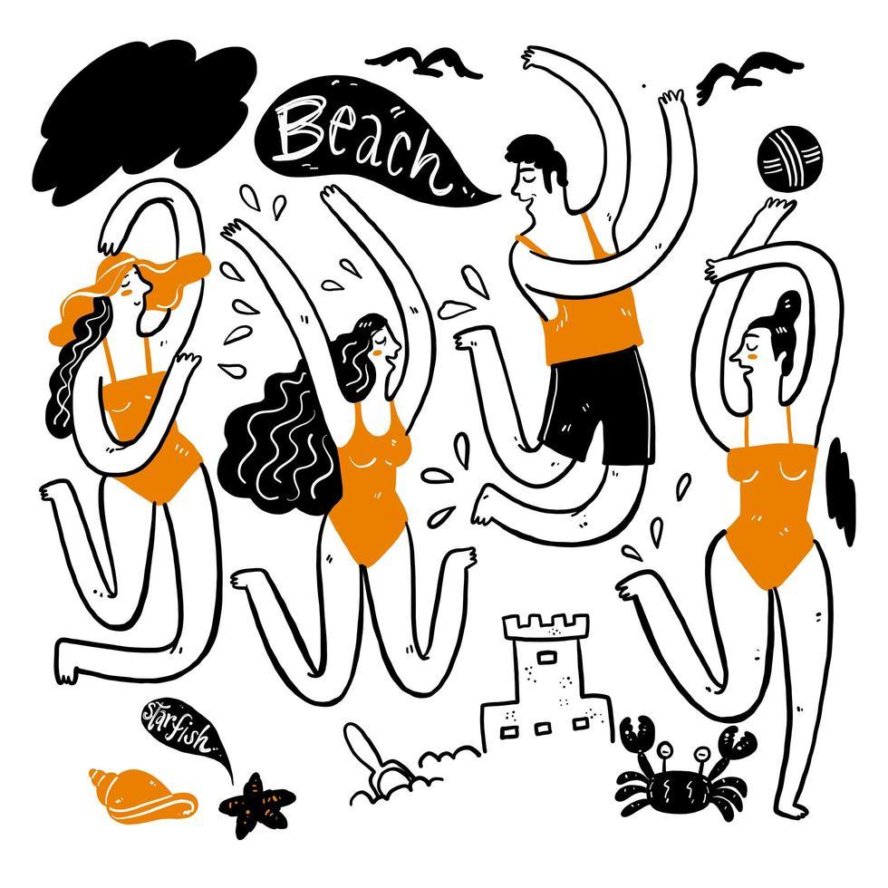 hombres y mujeres jóvenes bailando en la playa vector