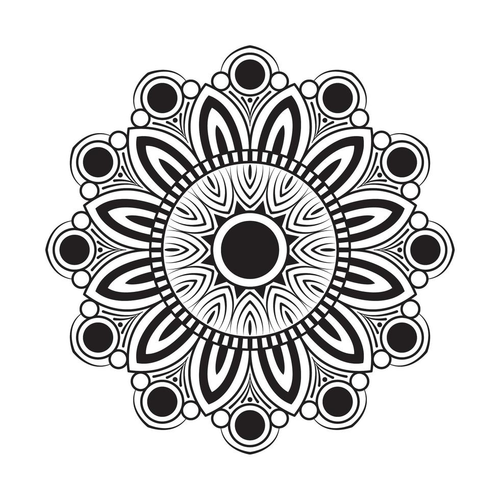 White and black flower mandala vector