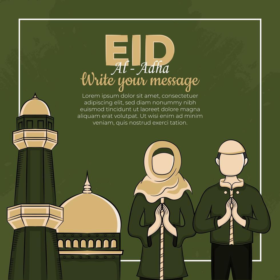 Tarjeta eid al-adha con musulmanes dibujados a mano vector