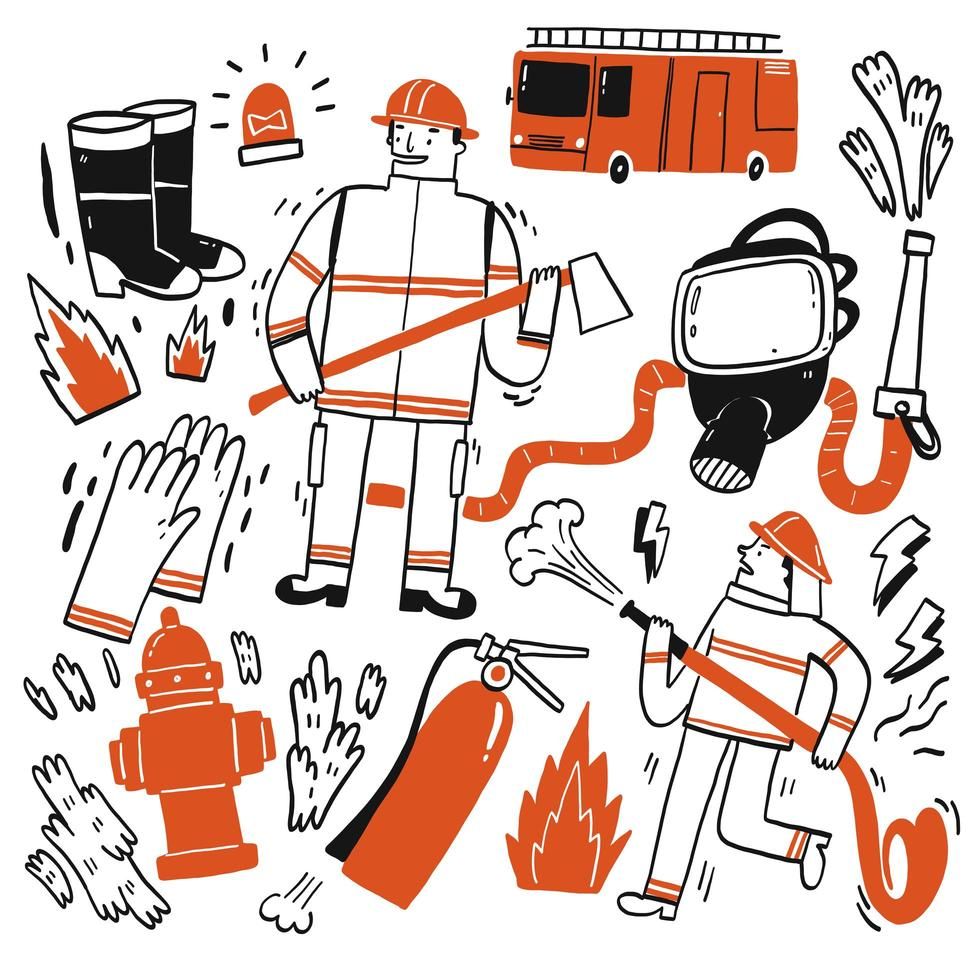 Hand drawn fire fighter set vector