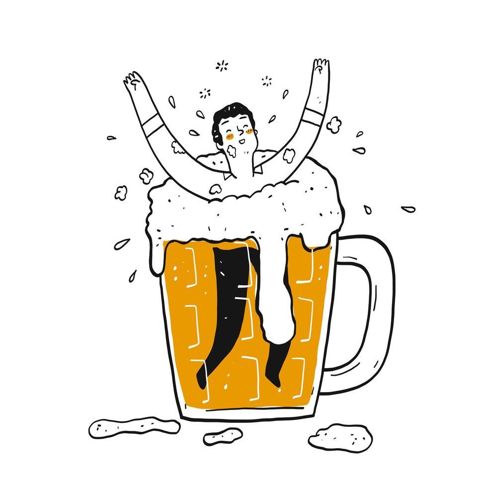 hombre feliz dibujado a mano en un vaso de cerveza vector