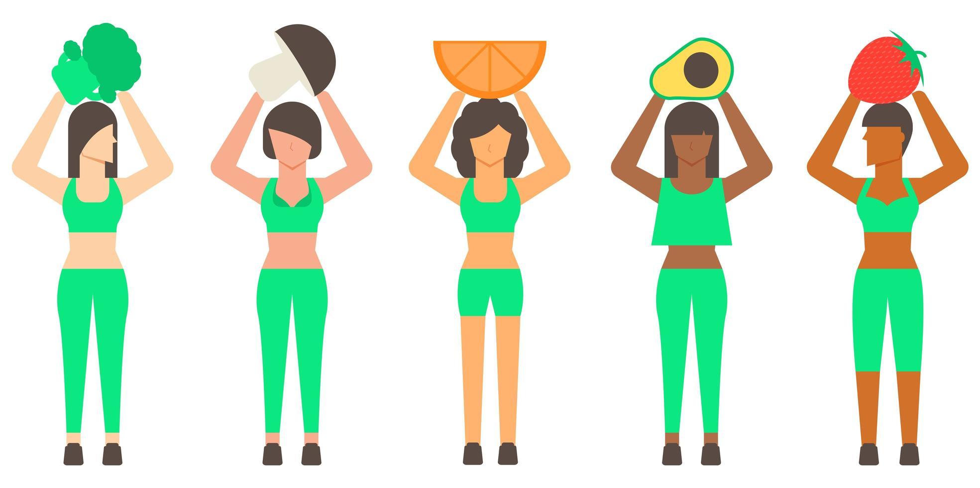 mujer sana y comida sana vector