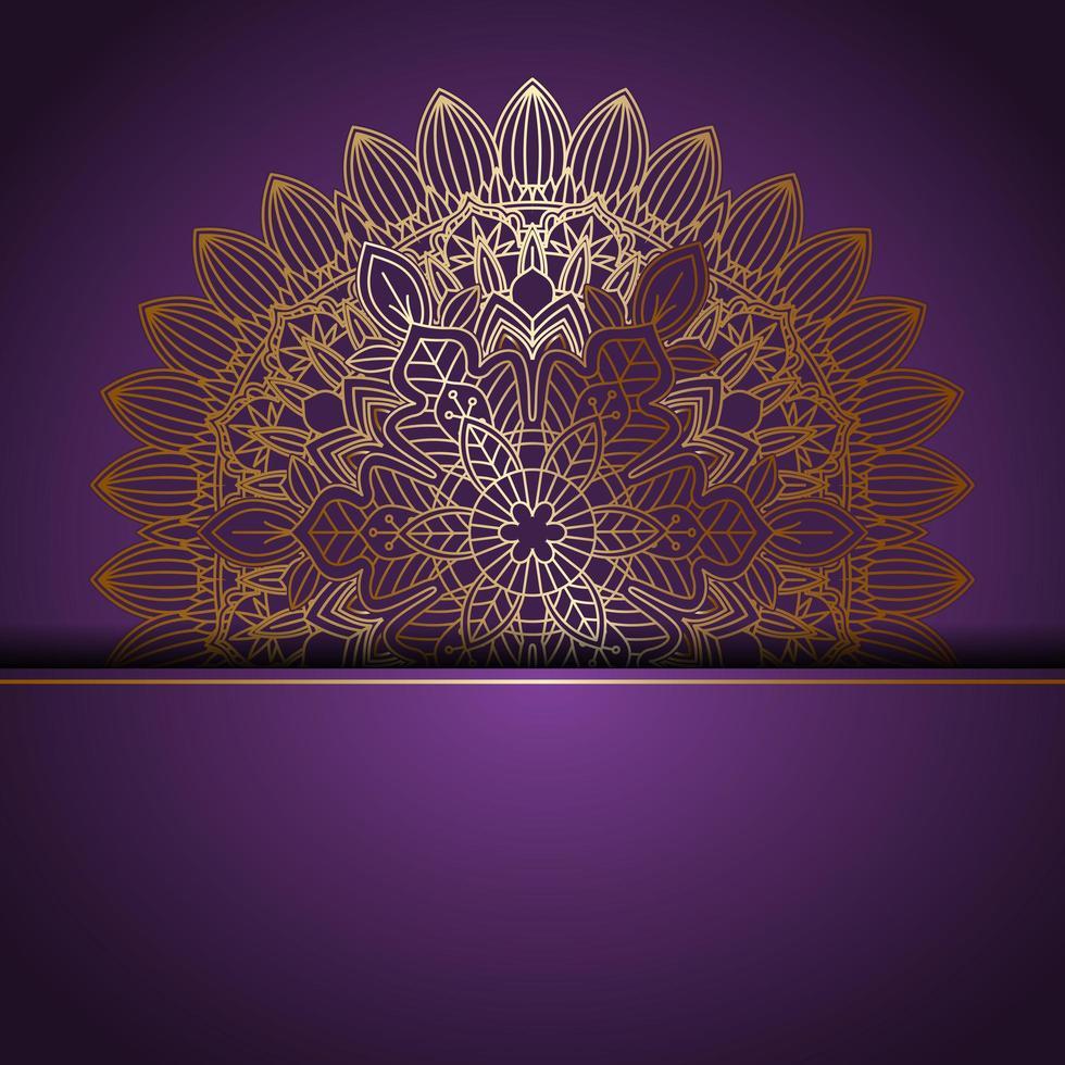 design elegante mandala de ouro no roxo vetor