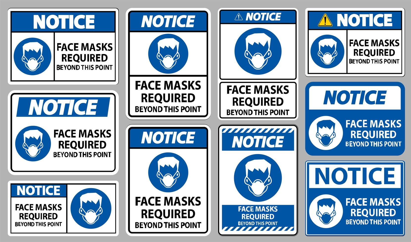 Notice Masks Required Beyond This Point Sign Set  vector