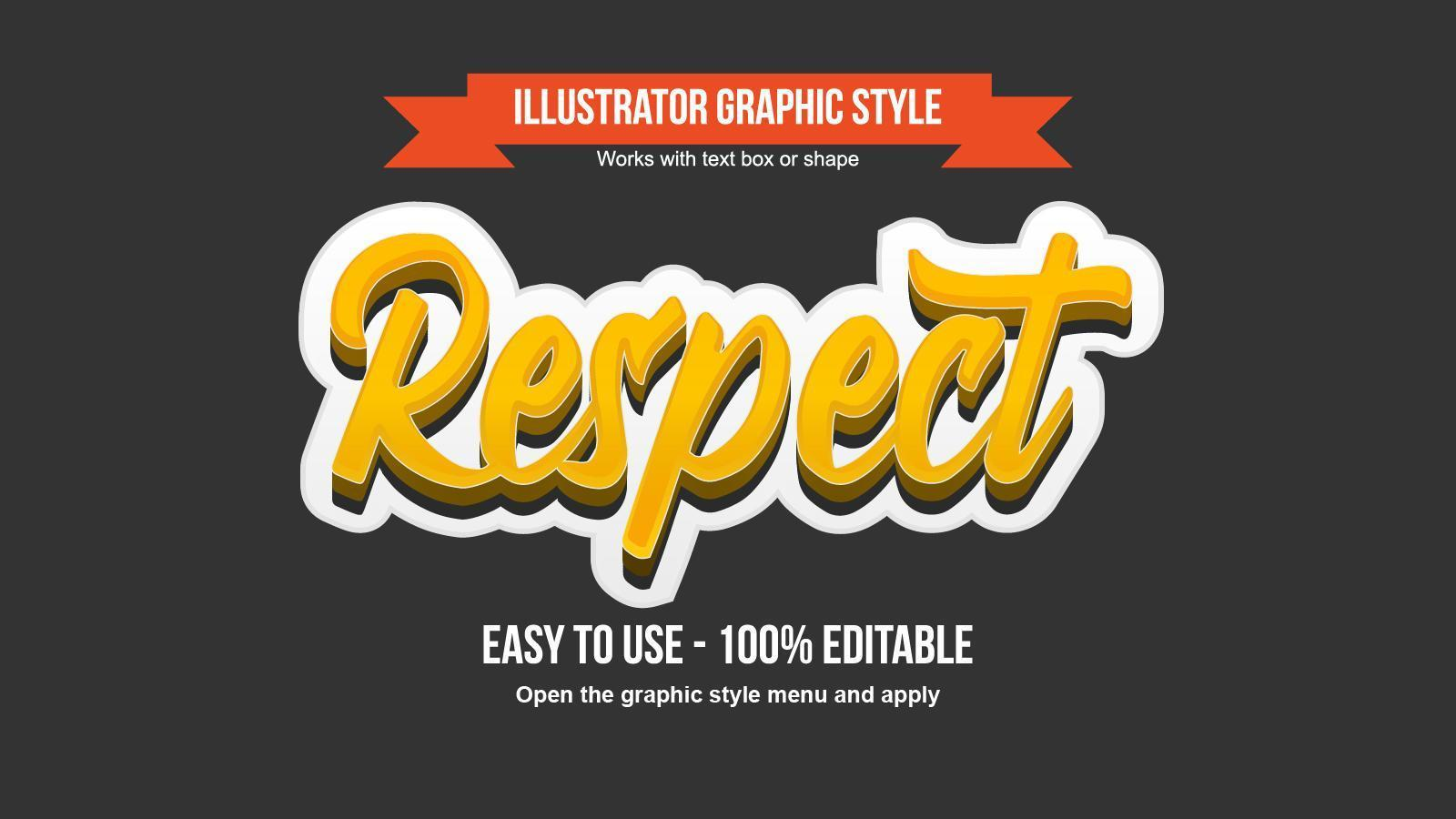 Yellow 3d bold cursive style editable text effect vector
