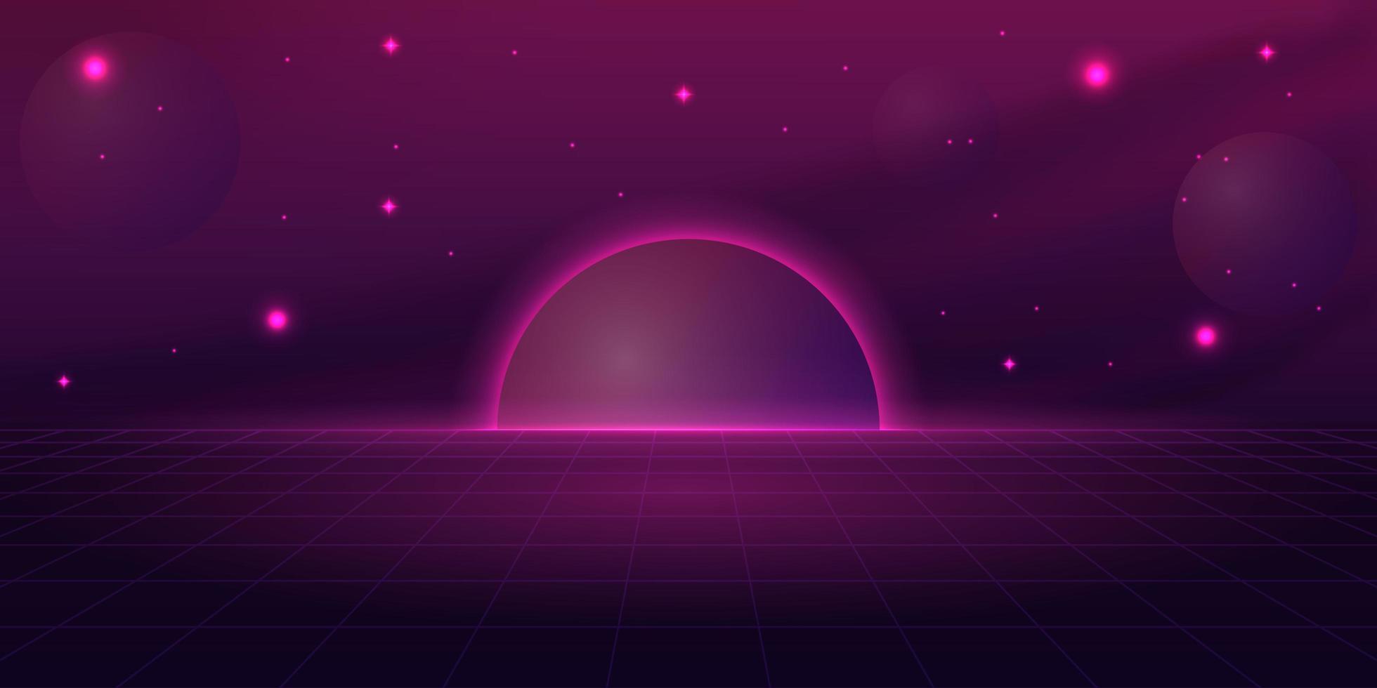 diseño de ciencia ficción retro púrpura vector