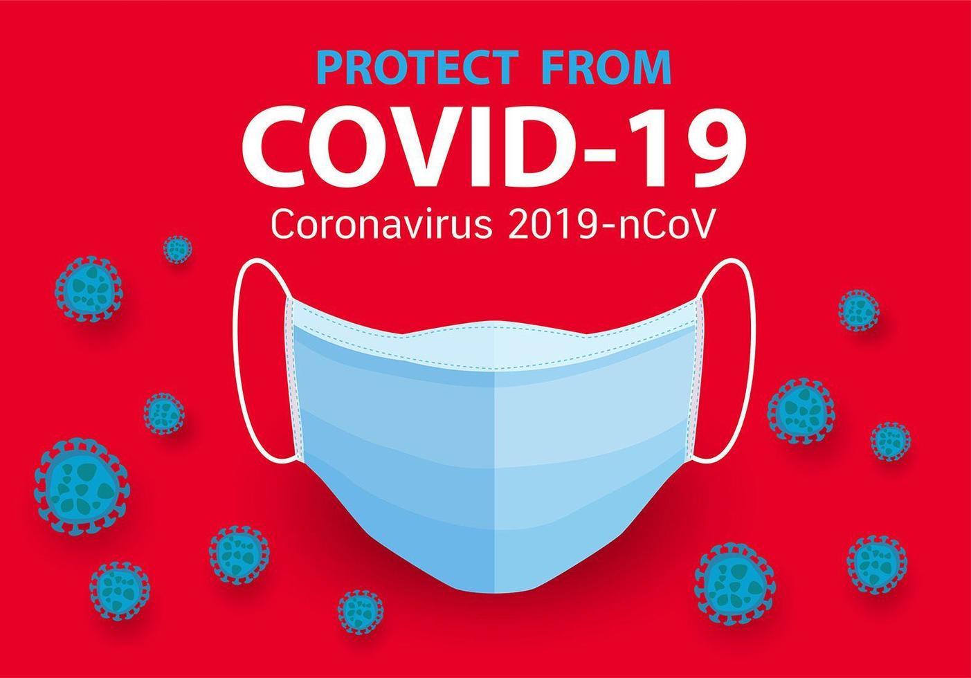Concepto de máscara médica para la protección del coronavirus. vector