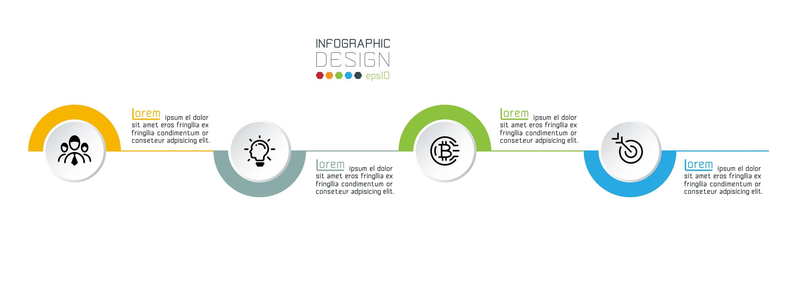 presentación infográfica de medio círculo colorido vector