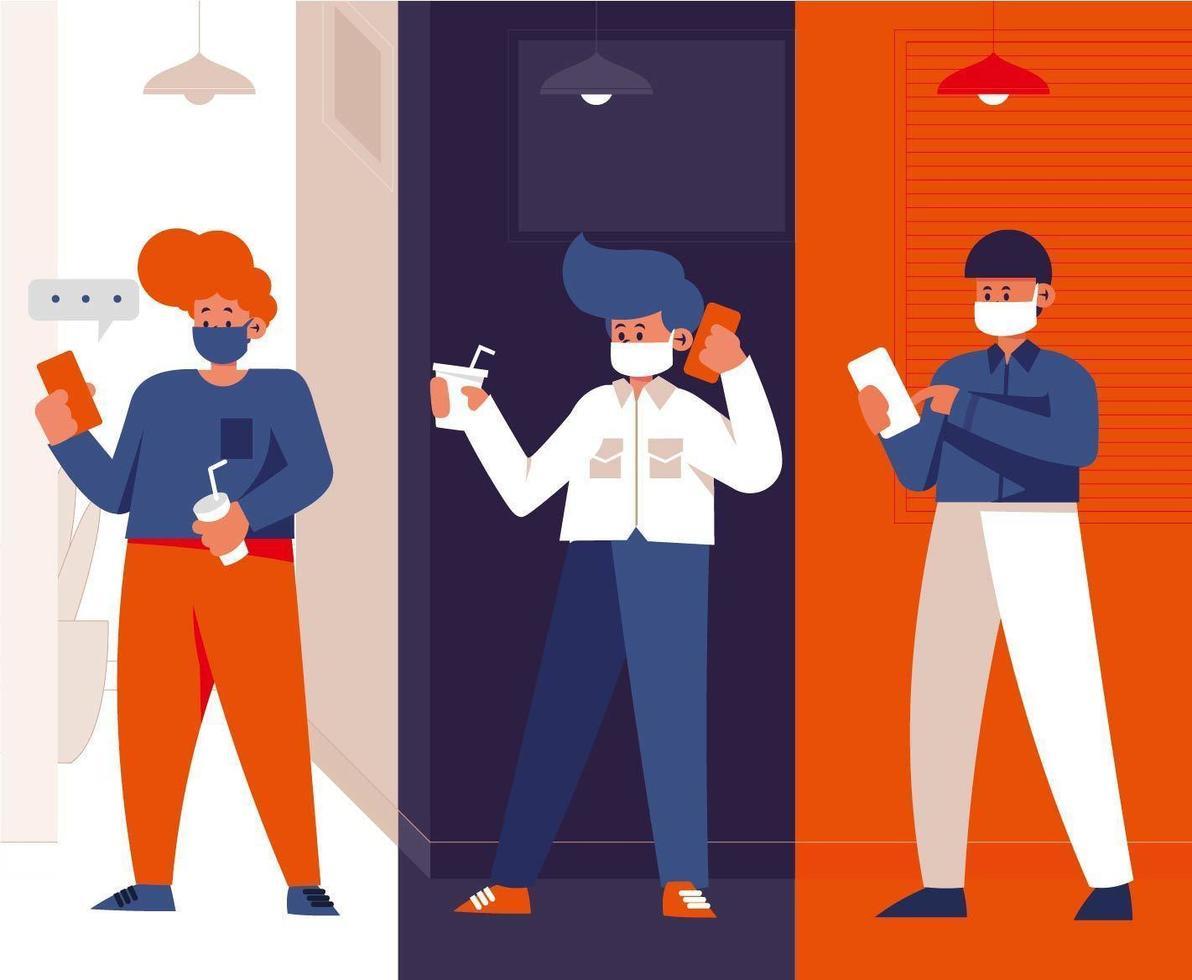 conjunto de empleados en teléfonos que trabajan desde casa vector